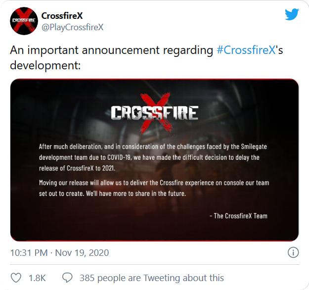 توییت منتشر شده حساب رسمی بازی